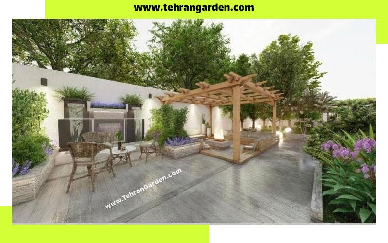 طراحی دیوار باغ با آبنما