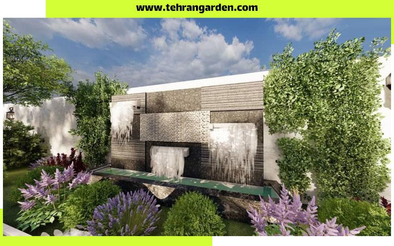 اجرای آبنما روی دیوار باغ