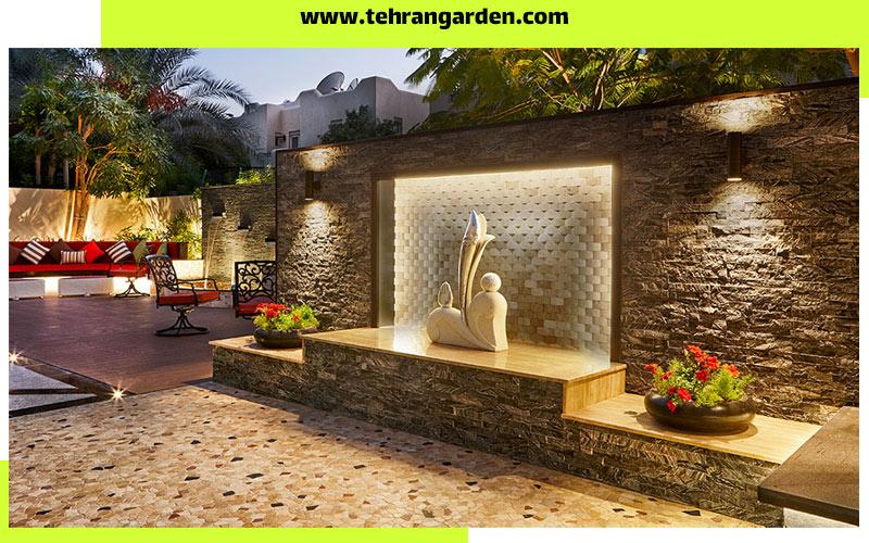 طراحی دیوار باغ با سنگ انتیک